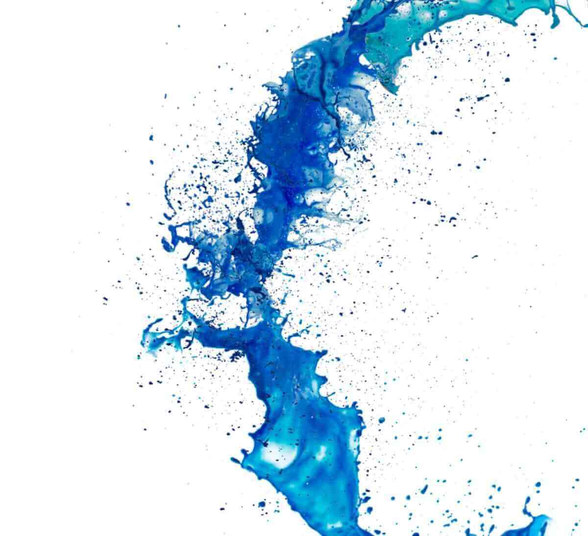 Inkjet ink with blue and green colors splatter